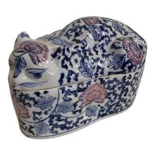 1970s Asian Chinoiserie Cat Catchall Box For Sale