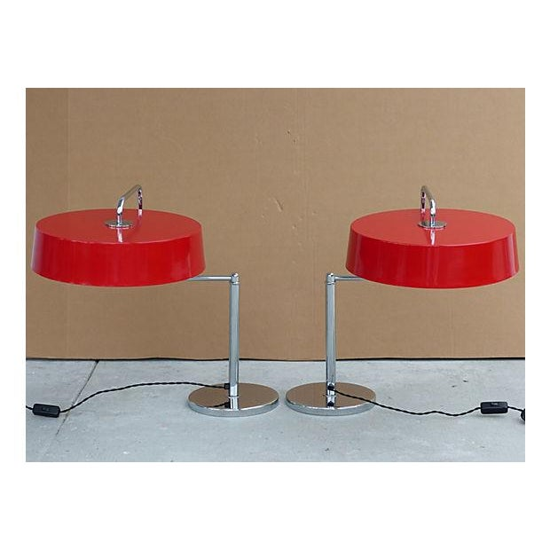 Italian Italian Lamps With Enameled Shades - Pair For Sale - Image 3 of 11