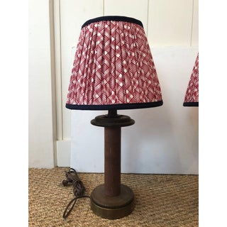 1940s Wooden Spool Table Lamps With Custom Gathered Fabric Lampshades - a Pair Preview