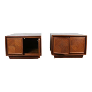 Milo Baughman Style Walnut Chests - A Pair