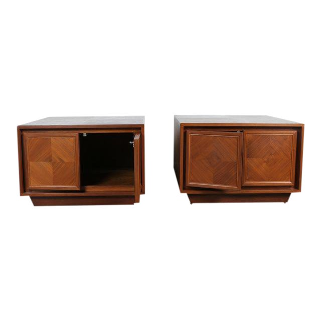 Milo Baughman Style Walnut Chests - A Pair For Sale
