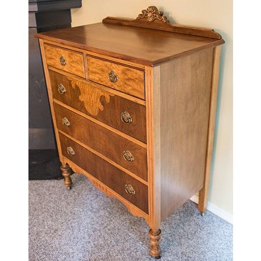 Vintage Maple Dresser with Walnut Veneers - Image 3 of 6