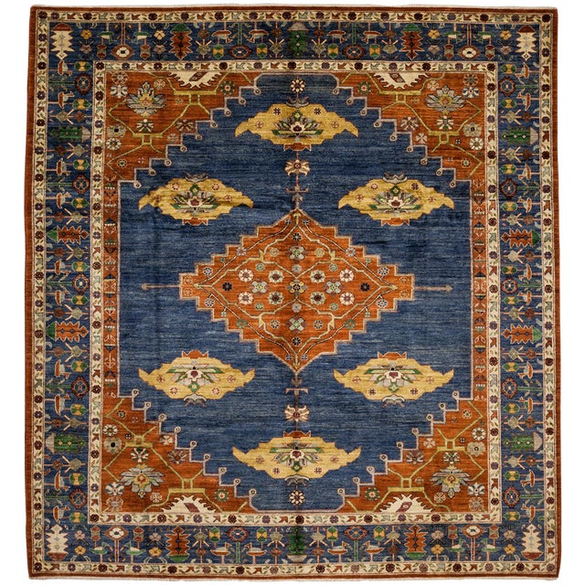 "New Blue Traditional Hand-Knotted Rug - 8'4"" x 9'8"" - Image 1 of 3"