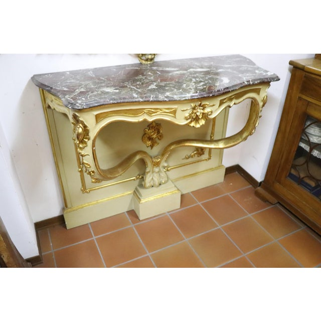Gold 19th Century Italian Golden and Lacquered Wood Console Table With Marble Top For Sale - Image 8 of 11