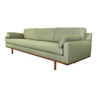 Long Danish Modern Green Wool Sofa