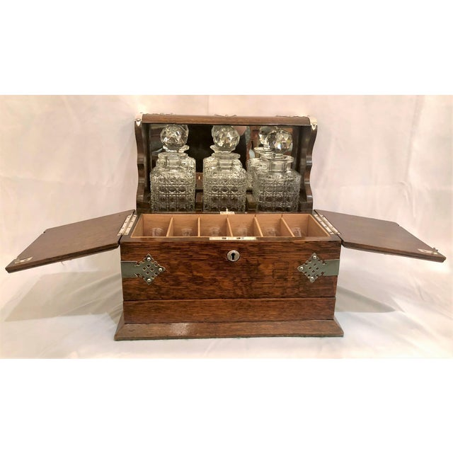 Antique English Golden Oak Games Box Tantalus, Circa 1880.