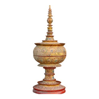 Antique Burmese Mandalay Jeweled Vessel For Sale
