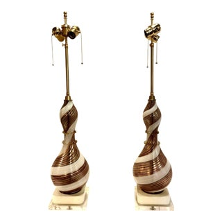 1950 Dino Martens Swirled Murano Glass Lamps - A Pair For Sale