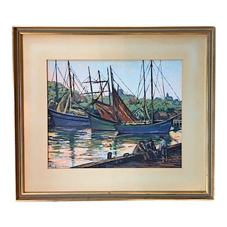Lovely Signed Print of Docked Boats by Harry Shokler For Sale