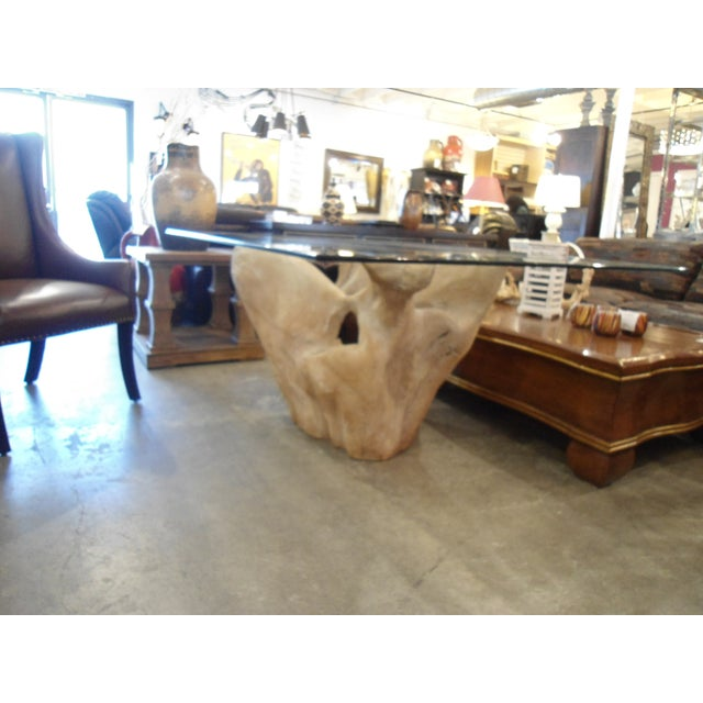 Michael Taylor Inspired Driftwood & Glass Pedestal Table - Image 4 of 7