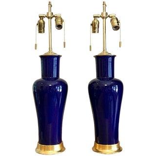 Cobalt Blue Porcelain 23-Karat Water Giltwood Bases Lamps - a Pair