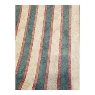 Beige, Green, Reddis Stripe Designer Wallpaper