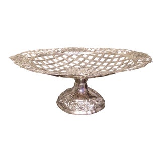 Vintage Silver Plated Fruit Basket Stand For Sale