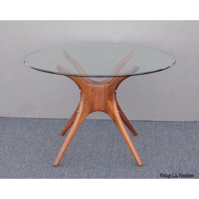 Danish Modern Organic Modernism Carved Walnut Pedestal Glass Top Dining Table For Sale - Image 5 of 11