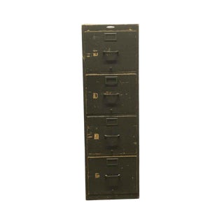 Late 20th Century Vintage 4 Drawer Wooden Green File Cabinet For Sale