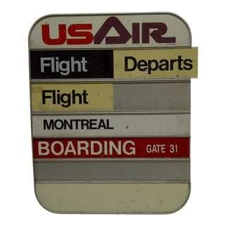 Vintage US Air Airlines Arrivals / Departures / Boarding Gate Sign Circa 1960 For Sale