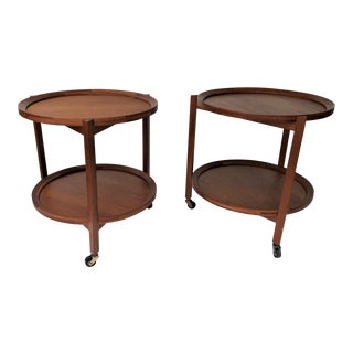 1960s Danish Sika Møbler Round Side Teak Tables - a Pair For Sale