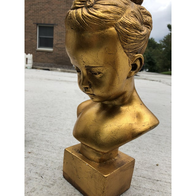 Mid 20th Century Mid 20th Century Boy & Girl Gold Gilt Busts - a Pair For Sale - Image 5 of 10