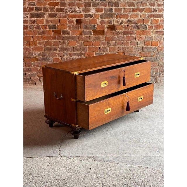 Mid-19th century Anglo-Indian Colonial Victorian teak military campaign chest of drawers circa 1850, (Number 60) featuring...