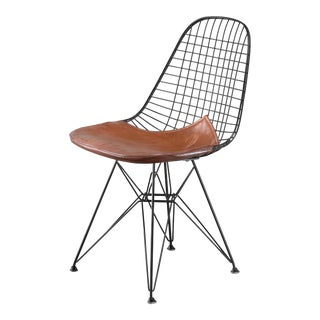 Eames early DKR wire chair with leather seat on Eiffel frame, USA, 1950s For Sale