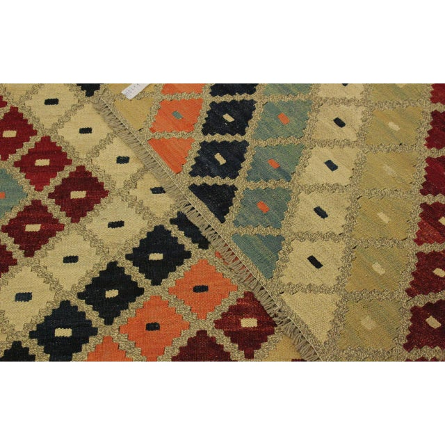 Textile Shabby Chic Tribal Ezra Gray/Blue Hand-Woven Kilim Wool Rug -9'4 X 12'1 For Sale - Image 7 of 8