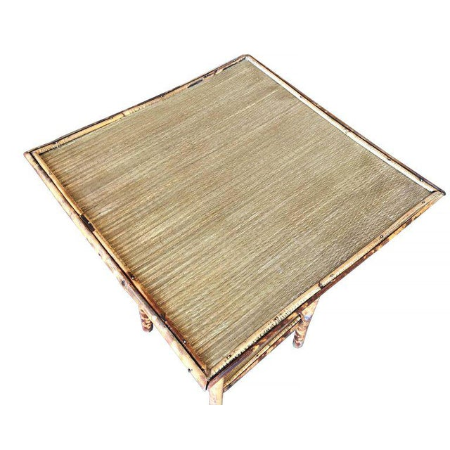 Restored Tiger Bamboo Pedestal Side Table With Slat Bamboo Top For Sale In Los Angeles - Image 6 of 6