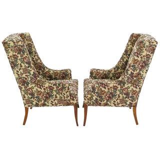 Pair of Low-Arm Wing Chairs in Grosfeld House Manner For Sale