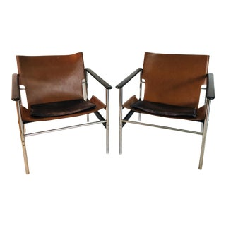 Vintage Mid Century Charles Pollock Model 675 for Knoll Sling Chairs- A Pair For Sale
