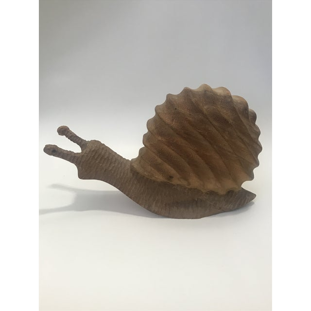 Incredible California studio handcrafted large solid wood snail sculpture with precision detail. Great craftsmanship....