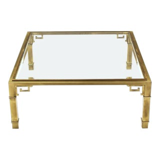 Greek Key Square Brass Glass Top Coffee Table Mastercraft For Sale