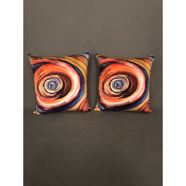 "Stunning Pair of hand made modern abstract art print by ""Bruce Mishell""pillows on the front with white Naugahyde vinyl in..."