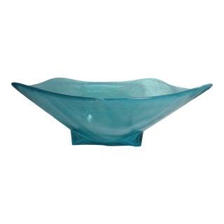 Blue Swirl Blown Art Glass Console Bowl For Sale