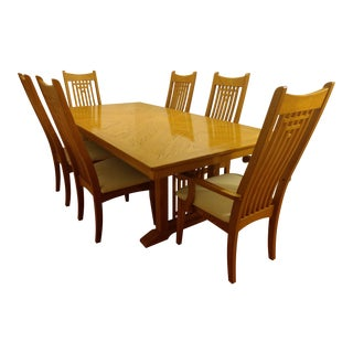 Natural Finish Solid Oak Dining Set For Sale