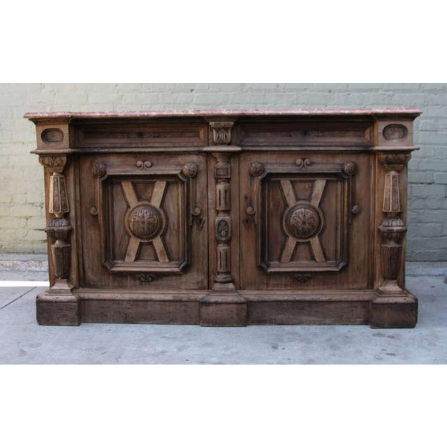 Italian Walnut & Marble Top Credenza - Image 3 of 10