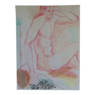 Seated Male Nude Drawing by James Bone 1990s For Sale