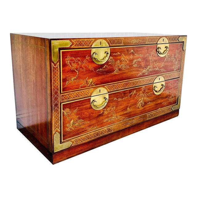 Chinoiserie Drexel Rosewood Chest of 2 Drawers For Sale