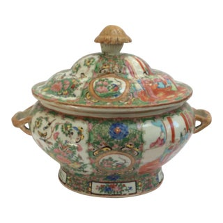 Large Rose Medallion Chinese Export Soup Tureen For Sale