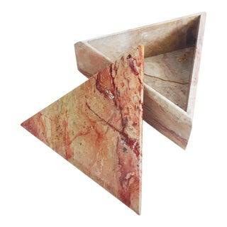 Vintage Triangular Pink Stone Box