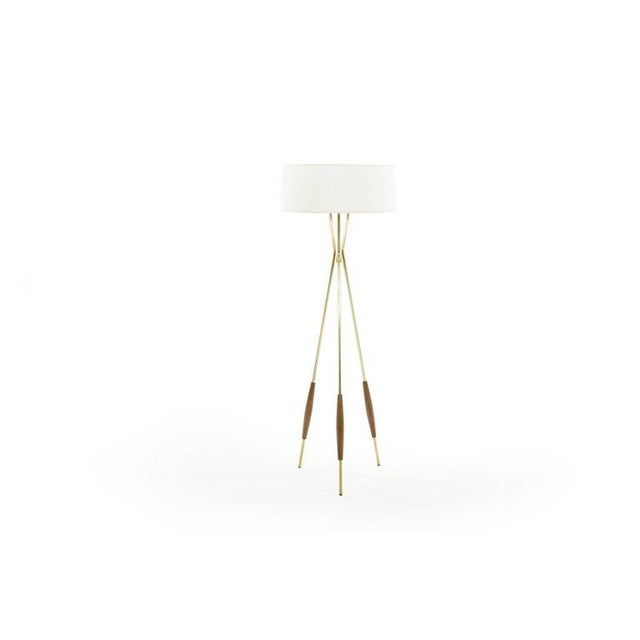 Danish Modern Brass and Walnut Tripod Floor Lamps by Gerald Thurston, 1960s - a Pair For Sale - Image 3 of 11