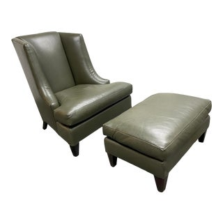 Baker Furniture Holly Hunt Moderne Wing Chair + Ottoman For Sale