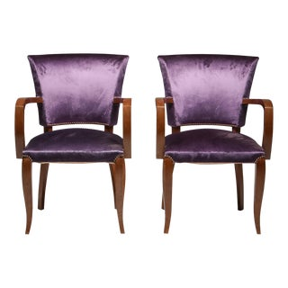 Jules Leleu Art Deco Armchairs For Sale