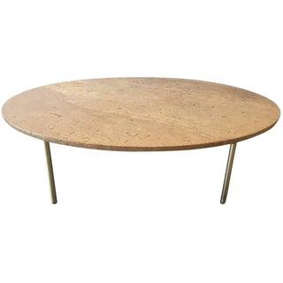 1950s Italian Travertine & Bronze Coffee Table For Sale