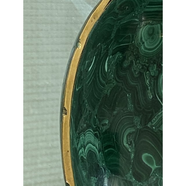Metal Vintage Round Malachite Dish With Scalloped Brass Rim For Sale - Image 7 of 9