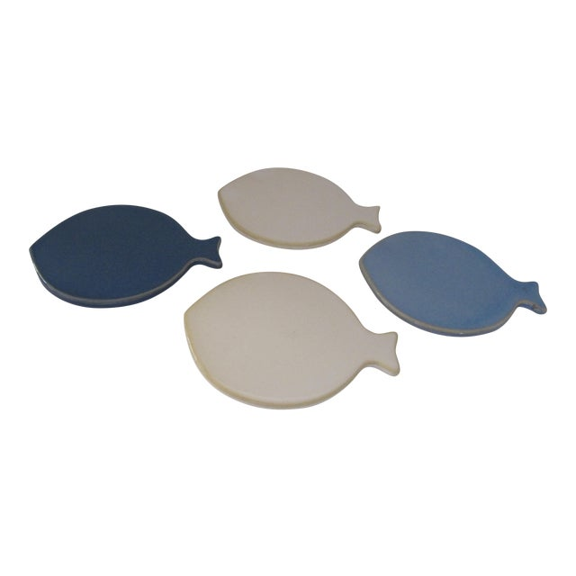 Ceramic Fish Coasters - Set of 4 For Sale