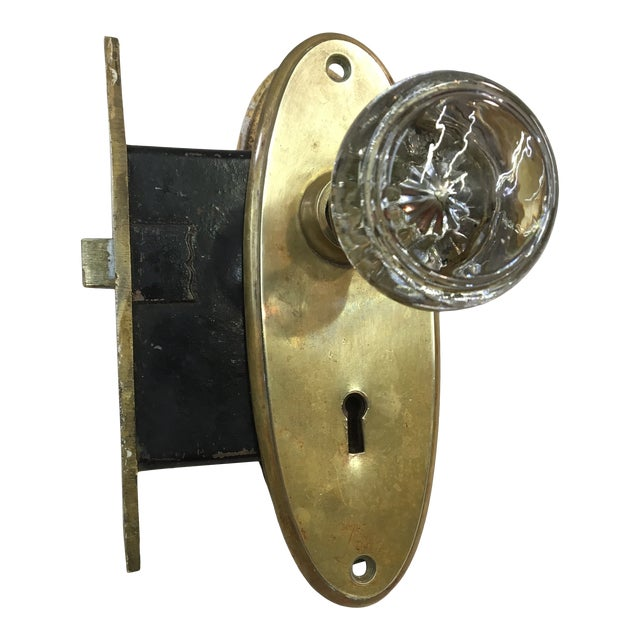 Antique Yale & Towne Early 20th Century Mortise Lock Box With Mercury Center Glass Door Knobs For Sale