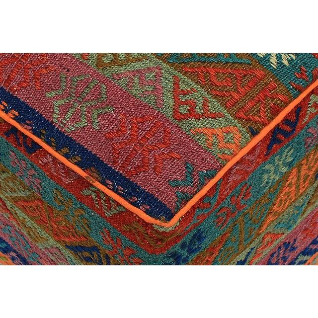 Wood Boho Chic Hahn Orange/Green Handmade Soumakh Upholstered Ottoman For Sale - Image 7 of 8