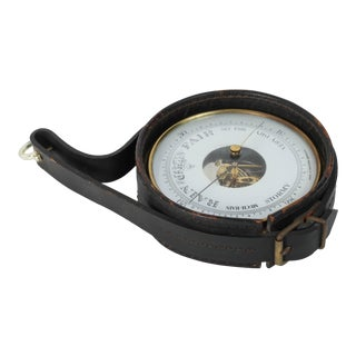 German Brass Barometer With Readings in English Wrapped in Leather For Sale