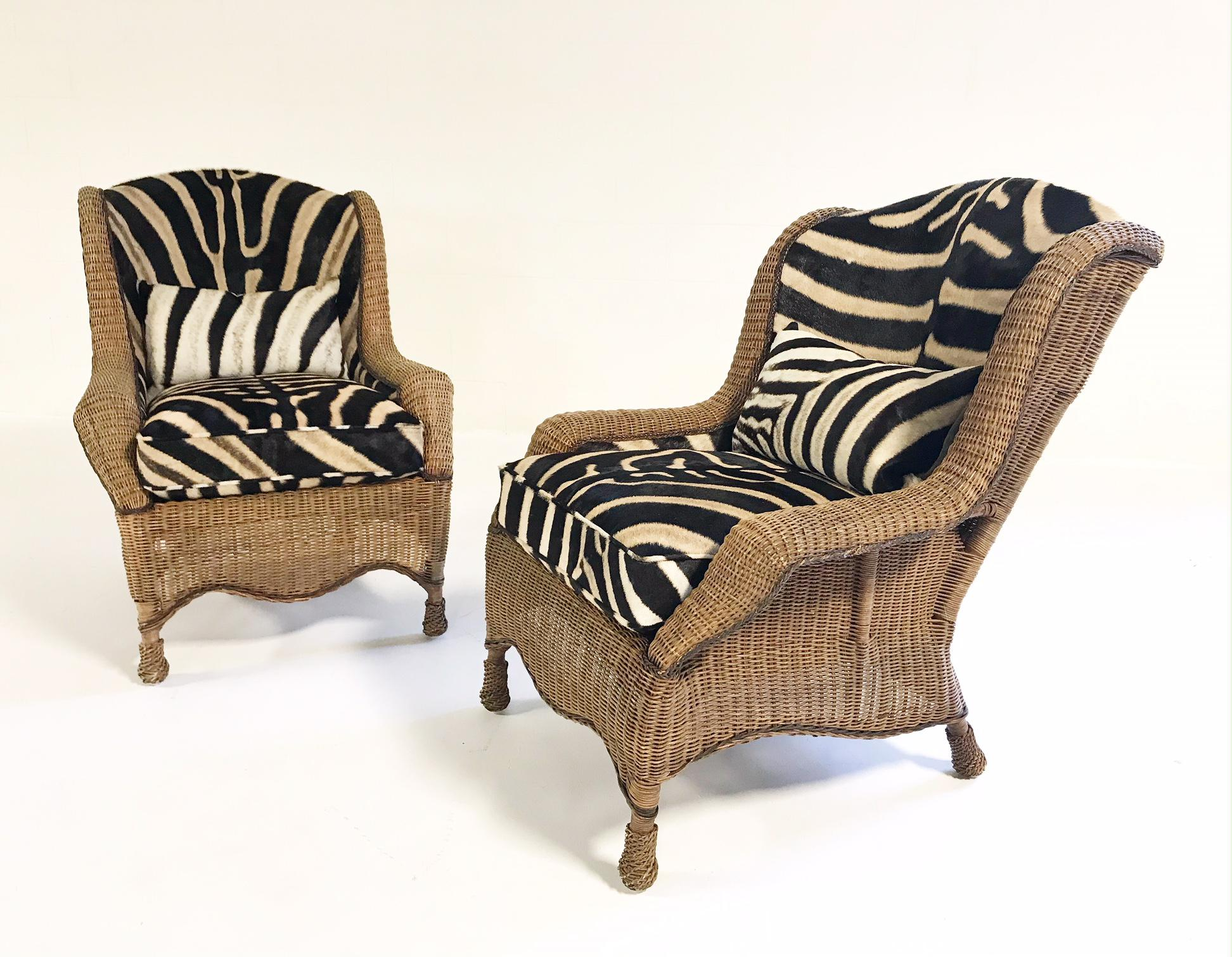 Etonnant Late 20th Century Vintage Ralph Lauren Wicker Wingback Chairs Restored In  Zebra Hide   A Pair