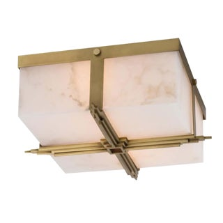 Regina Andrew Modern Art Deco Style Brass Finished Gotham Flush Mount For Sale