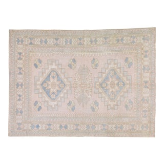 """Vintage Anatolian Oushak Handmade Hand Knotted Rug With Natural Colors,6'x8'1"""" For Sale"""